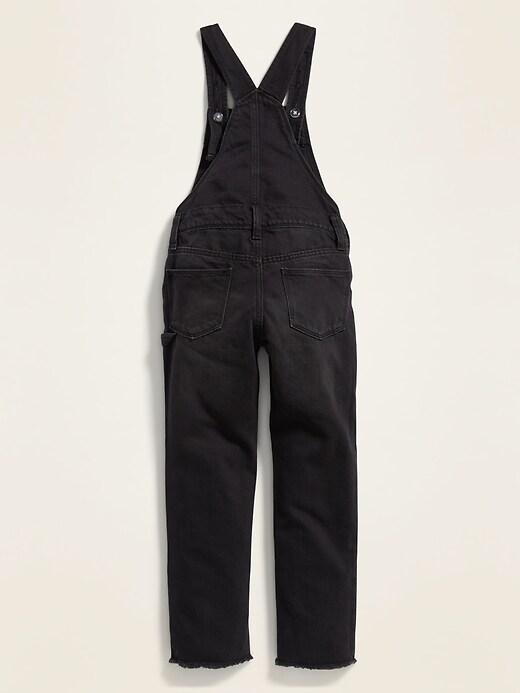 Distressed Raw-Hem Black Jean Overalls for Girls