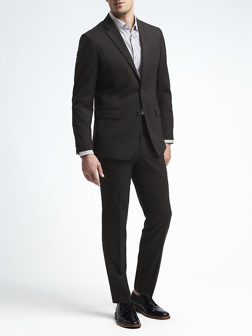 Slim Solid Italian Wool Suit Jacket
