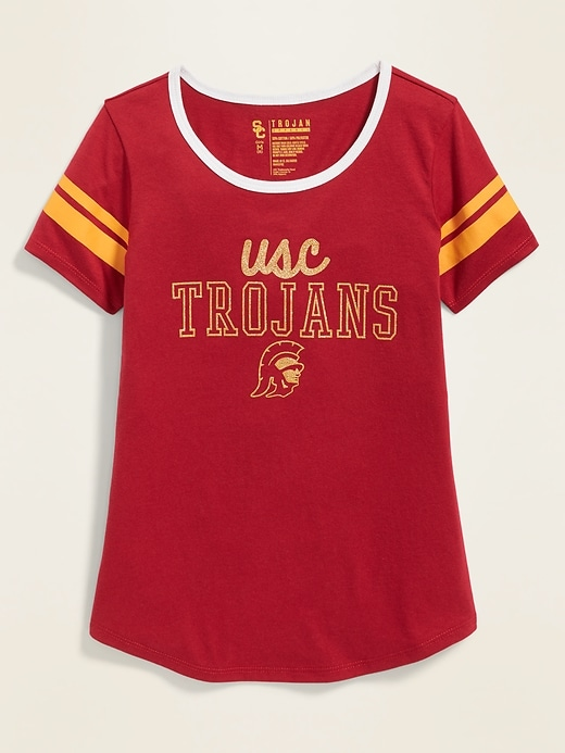 College-Team Graphic Sleeve-Stripe Tee for Girls