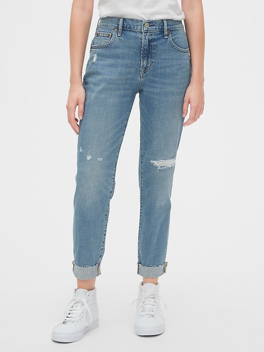 Mid Rise Rip & Repair Girlfriend Jeans