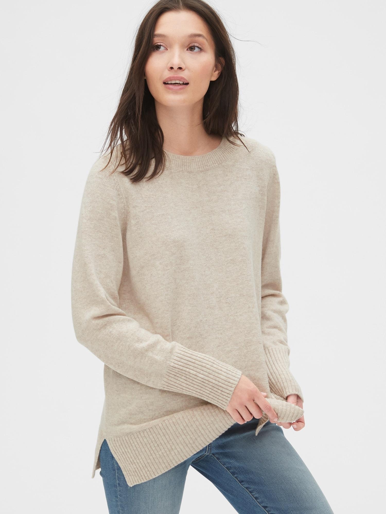 クルーネックチュニックセーター