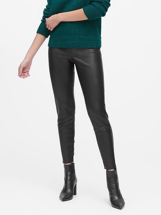 Petite Devon Legging-Fit Vegan Leather Pant