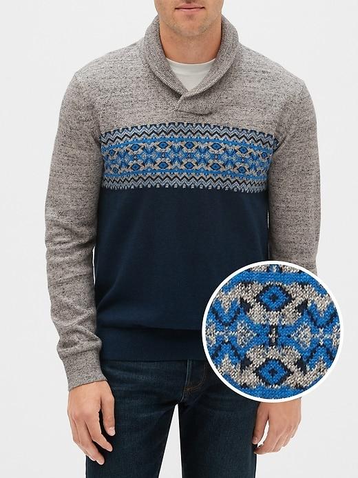 Fair Isle Shawl Collar Sweater