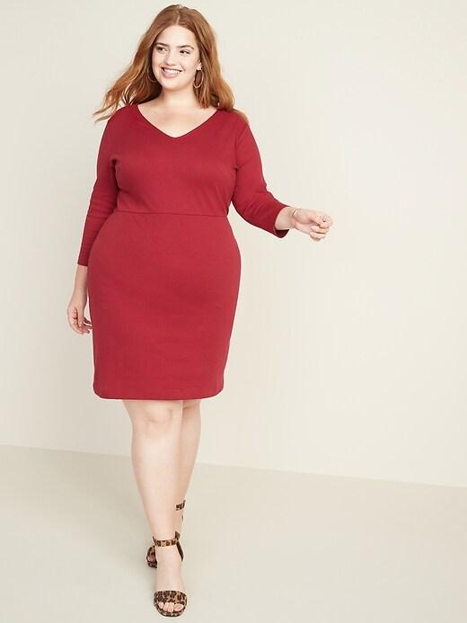 Plus-Size Secret-Slim V-Neck Sheath Dress