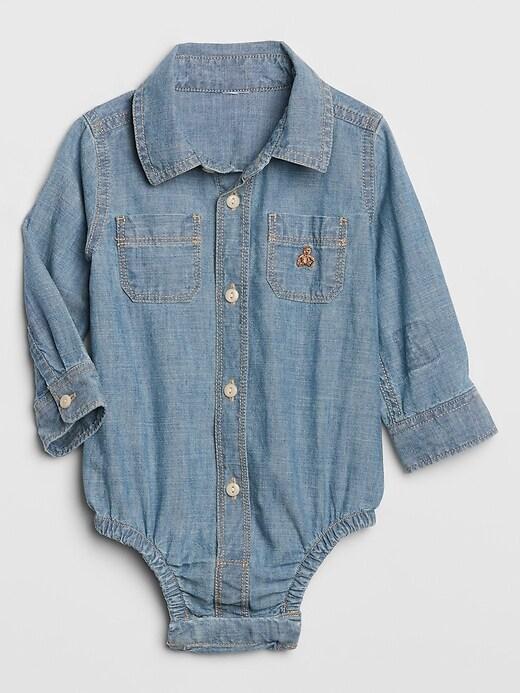 Baby Brannan Bear Chambray Bodysuit