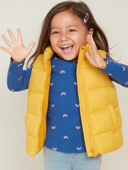 Frost-Free Quilted Puffer Vest for Toddler Girls