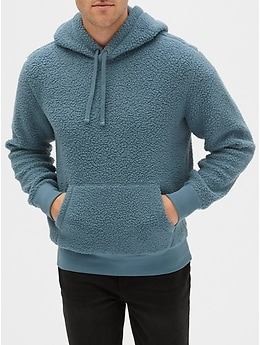 Textured Plaid Mens Long-Sleeve Pullover Hoodie with Pocket