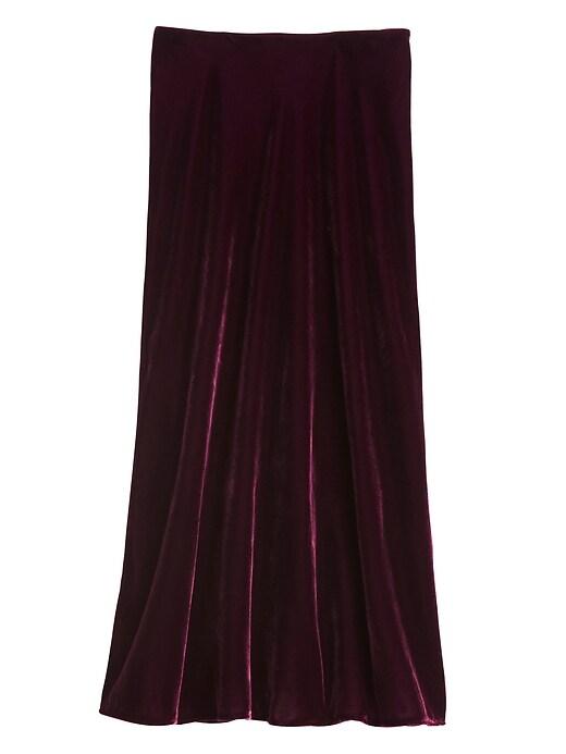 Petite Velvet Midi Slip Skirt