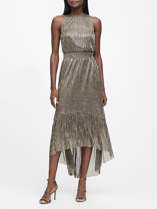 Metallic High-Low Dress