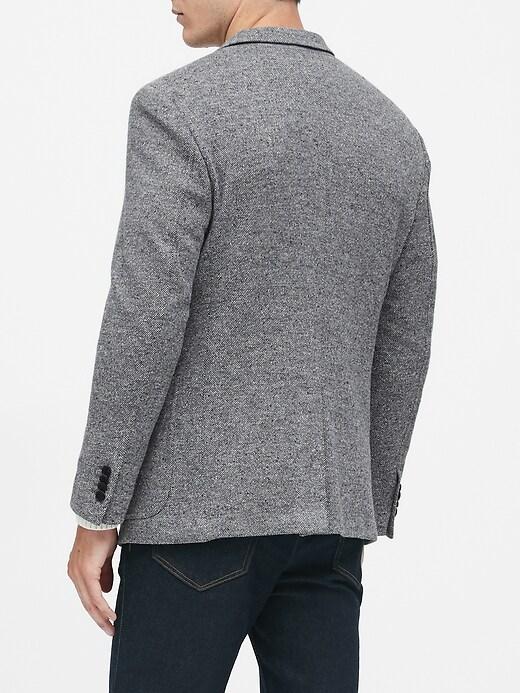 Slim Wool-Blend Knit Blazer