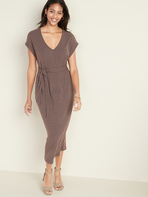 Tie-Belt Rib-Knit Midi Shift Dress for Women