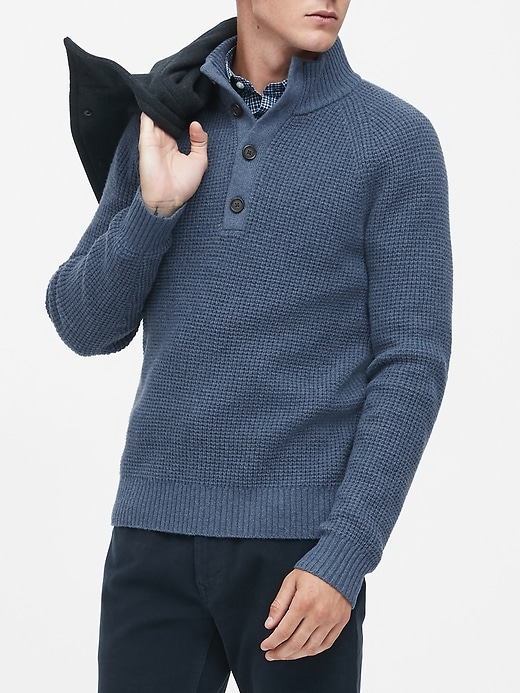 Waffle-Knit Mock-Neck Sweater