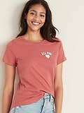 OldNavy.com deals on Old Navy EveryWear Graphic Curved-Hem Tee for Women