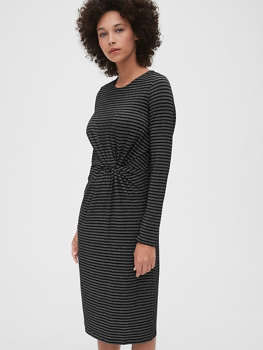 Metallic Stripe Twist-Knot Midi Dress