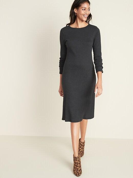 Fitted Rib-Knit Midi Shift Dress for Women