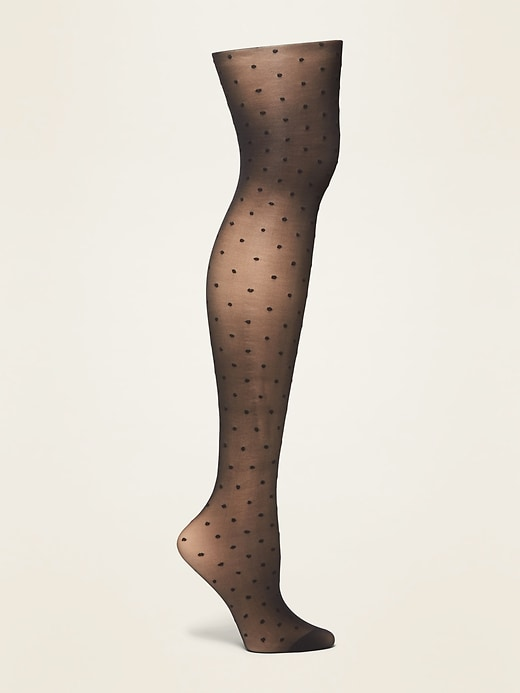 Textured-Dots Control-Top Nylon Tights for Women