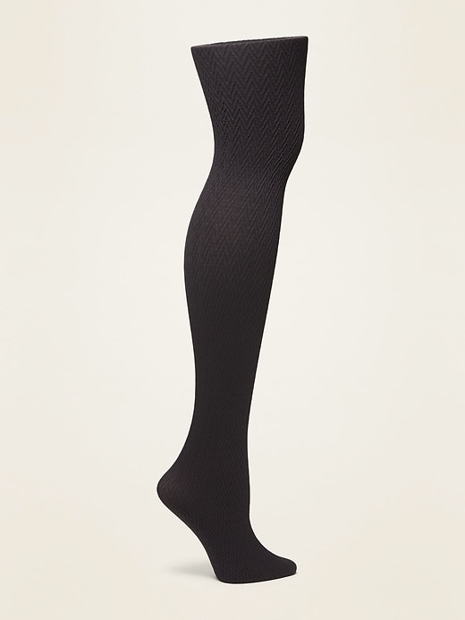 Textured Zig-Zag Control-Top Tights for Women