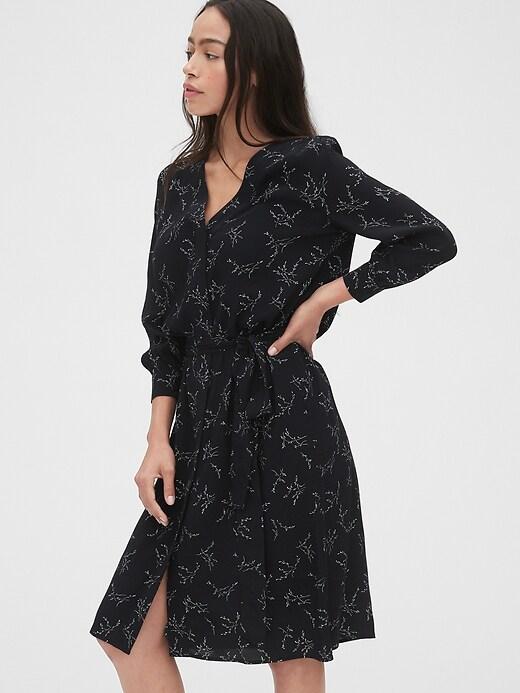 V-Neck Midi Shirtdress