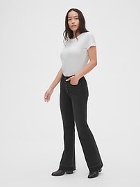High Rise Button-Fly Flare Jeans with Secret Smoothing Pockets