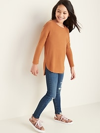 Plush-Knit Hi-Lo Scoop-Neck Tunic Top for Girls
