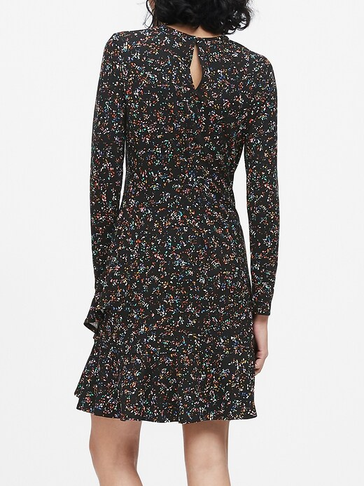 Print Soft Ponte Ruffle Mini Dress