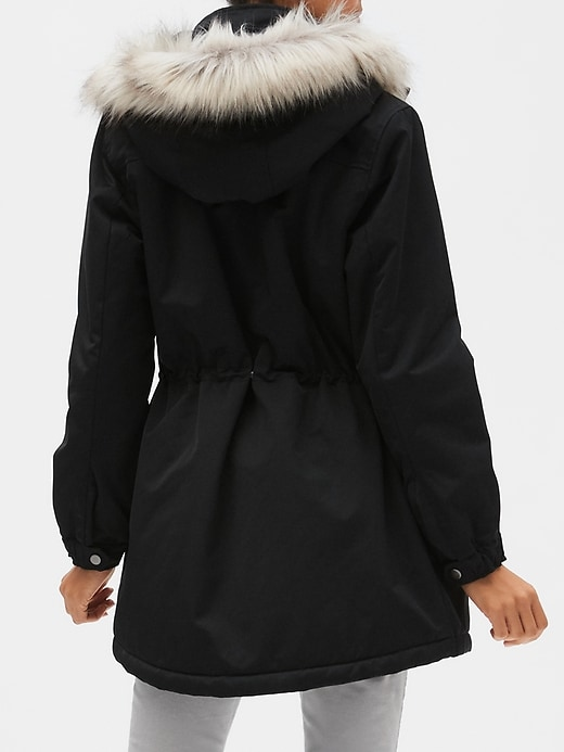 Faux Fur Hooded Water Resistant Parka