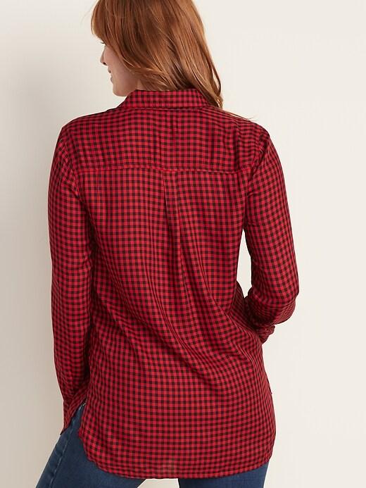 Plaid Drapey Flannel Tunic Shirt for Women