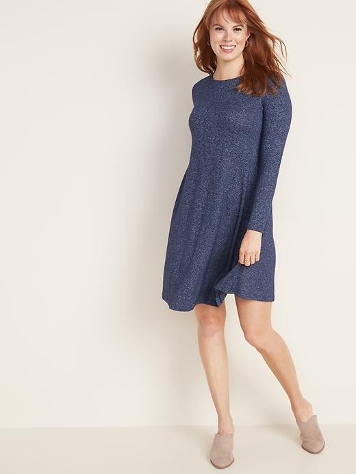 Plush-Knit Swing Dress for Women
