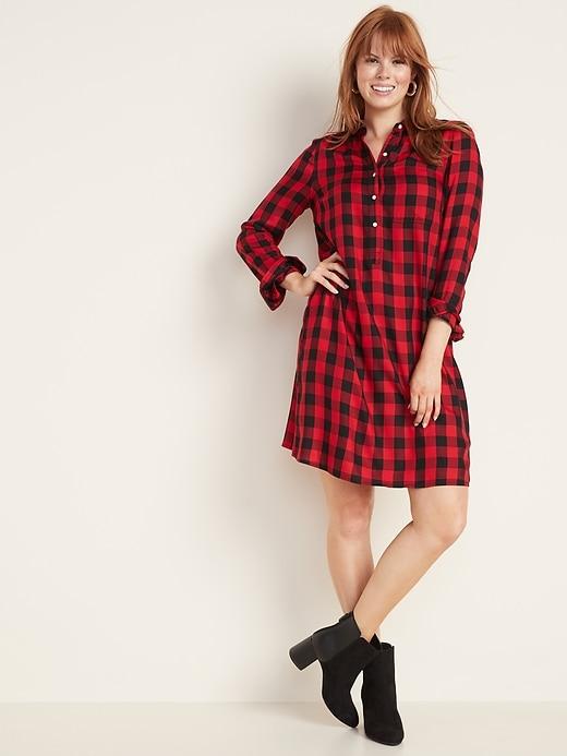 Plaid Popover Shirt Dress for Women