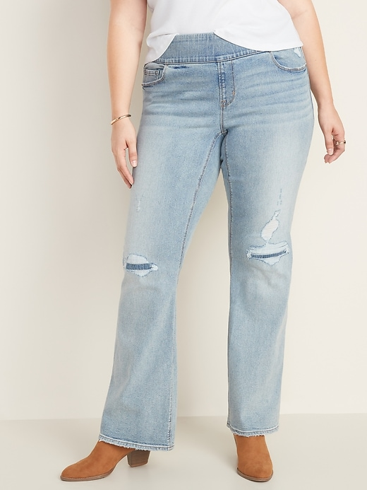 High-Waisted Plus-Size Distressed Pull-On Boot-Cut Jeans