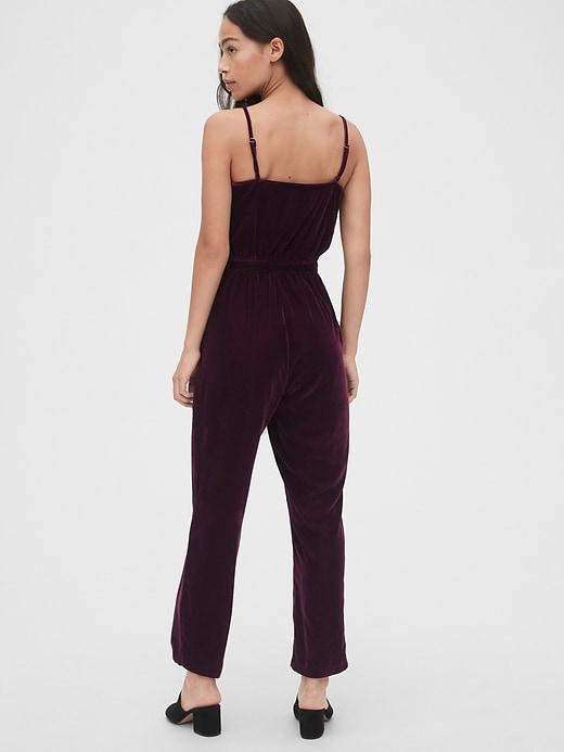 Velvet Cami Wrap-Front Jumpsuit