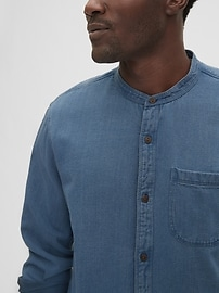 Textured Band Collar Shirt