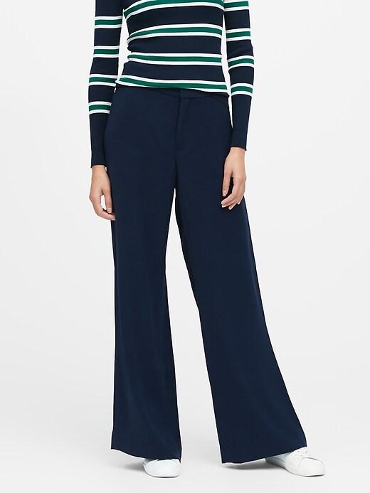 Pantalon à jambe à taille haute