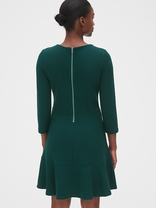 Textured Fit and Flare Flutter Dress