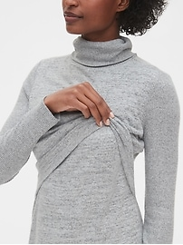 Maternity Softspun Layered Nursing Turtleneck Dress