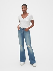 High Rise Distressed Flare Jeans with Secret Smoothing Pockets