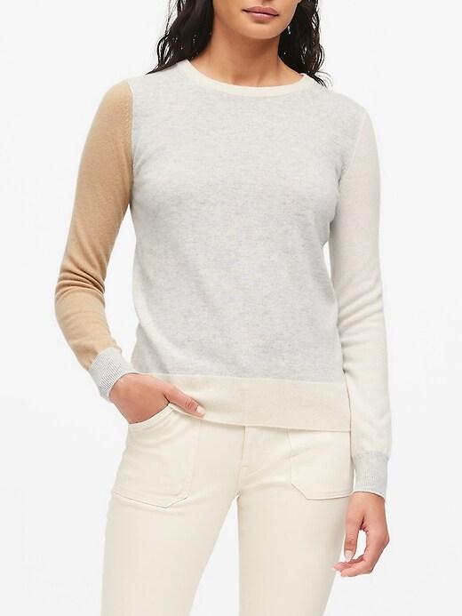 Petite Cashmere Color-Blocked Sweater