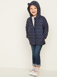 Hooded Packable Polka-Dot Puffer Jacket for Toddler Girls