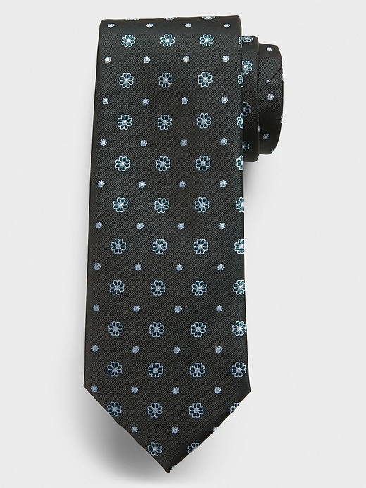 Stain-Resistant Small Floral Green Tie