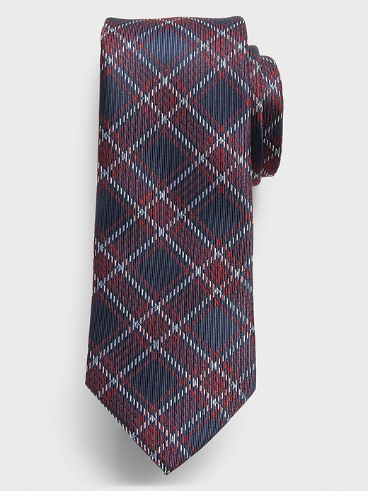 Stain-Resistant Red/Blue Plaid Tie