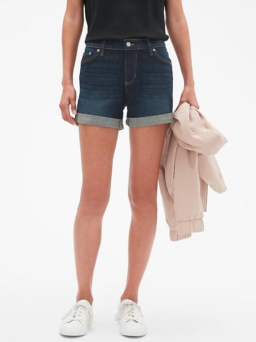 Petite Denim Roll-Cuff Shorts - 4 inch inseam