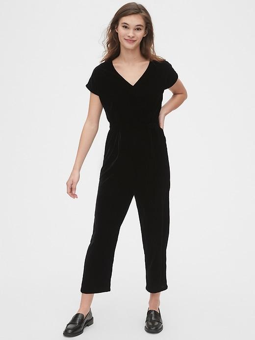 Velvet V-Neck Jumpsuit