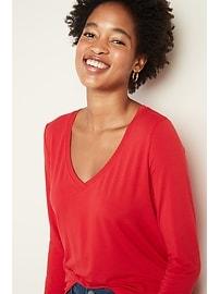 Luxe Bracelet-Sleeve V-Neck Tee for Women
