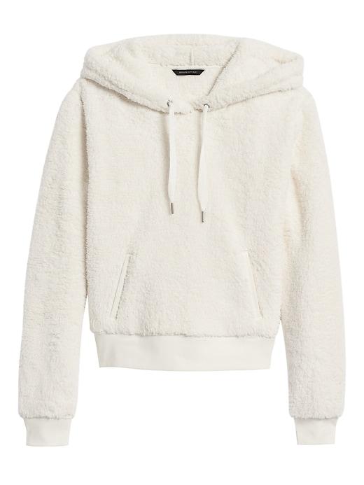 Petite Cropped Sherpa Fleece Hoodie