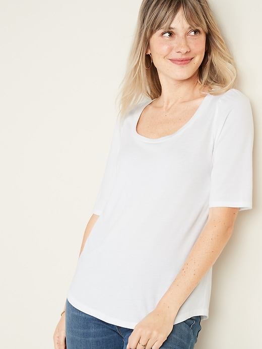 Shirred Elbow-Sleeve Jersey Top for Women