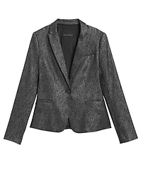 Classic-Fit Metallic Plaid Blazer