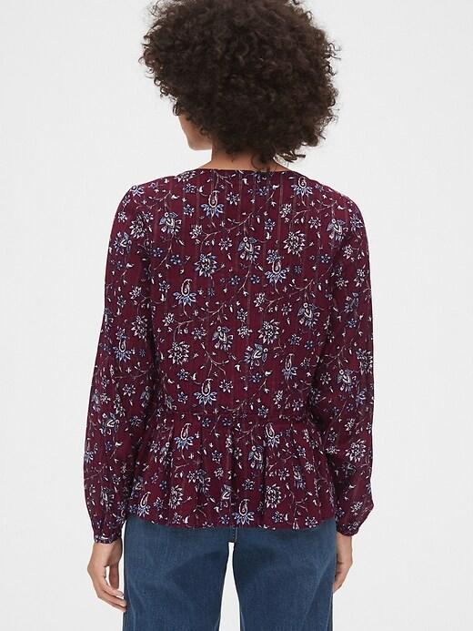 Floral Print Button-Front Peplum Top