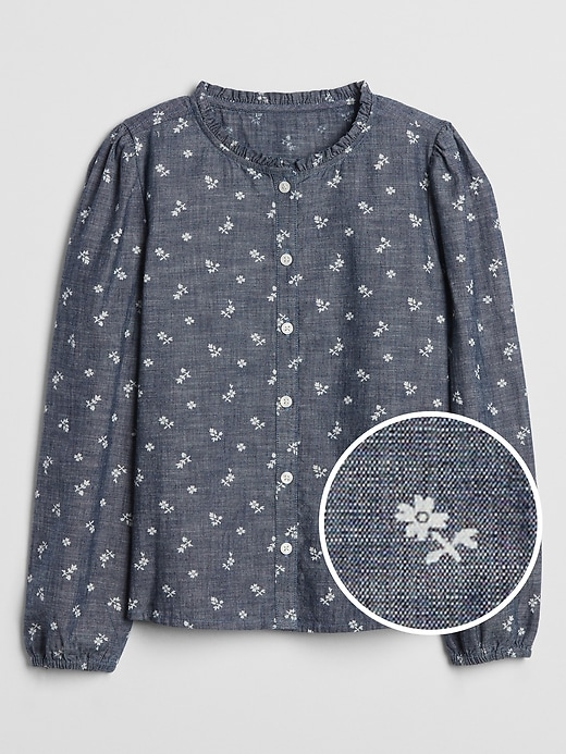 Kids Print Button-Front Chambray Top