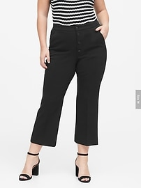 High-Rise Crop Flare Button Fly Pant