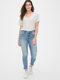 Mid Rise Distressed True Skinny Ankle Jeans